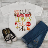 Kids Cute Fall T Shirt Even Leaves Fall For Me Tee Boy's Girl's Season Shirts Adorable TShirt Toddler-Shirts By Sarah