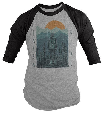 Men's Hiking T Shirt Take A Hike Shirt Graphic Tee Hiker Shirts Nature Wanderlust 3/4 Sleeve Raglan-Shirts By Sarah