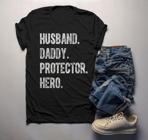 636ea297 Men's Dad T Shirt Husband Shirts Hero Protector Daddy TShirt Father's Day  Gift Idea Tee-