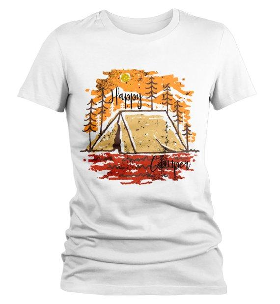 Women's Happy Camper T Shirt Fall Camping Camp Tent Illustration Forest Graphic Tee-Shirts By Sarah