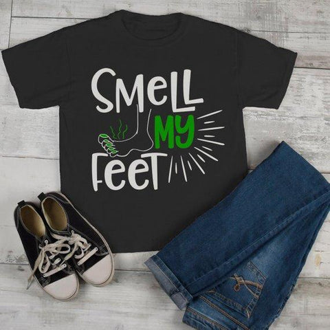 Kids Funny Halloween T Shirt Smell My Feet Graphic Tee Cool Matching Shirts Toddler Boy's Girl's-Shirts By Sarah