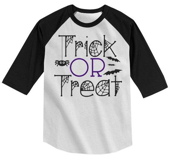 Boy's Funny Halloween Shirt Trick Or Treat Graphic Tee Cool Matching Shirts 3/4 Sleeve Raglan Toddler Girl's-Shirts By Sarah