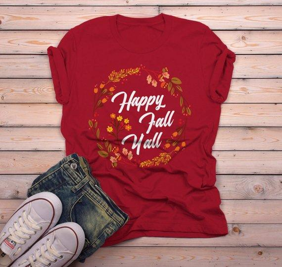 Men's Happy Fall Y'all T Shirt Floral Wreath Graphic Tee Season Shirts It's Fall Yall TShirt-Shirts By Sarah