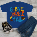 Kids Thanksgiving T Shirt Gobble Gobble Y'all Tee Colorful Turkey Day Shirts Toddler Boy's Girl's-Shirts By Sarah