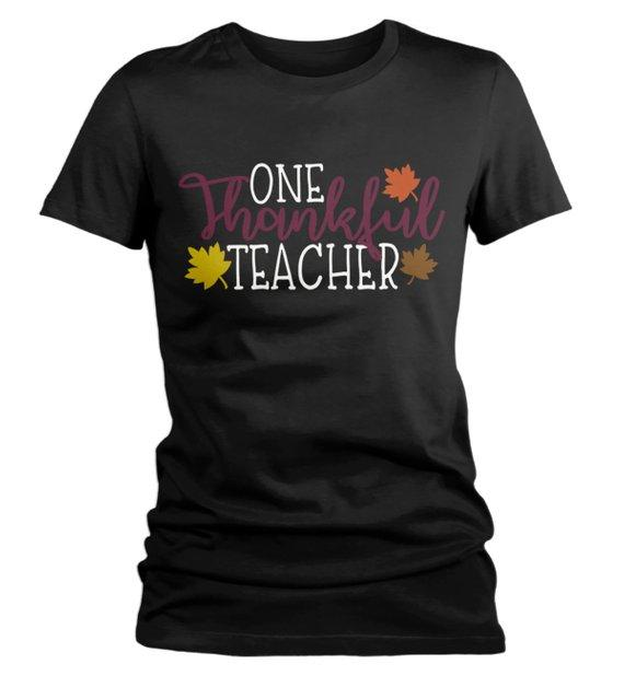 Women's Thanksgiving Teacher T Shirt One Thankful Teacher Graphic Tee Fall Shirts Teachers-Shirts By Sarah