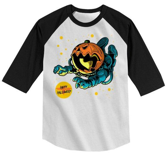 Boy's Halloween Shirt Astronaut Pumpkin Graphic Tee Happy Halloween Shirts 3/4 Sleeve Raglan Toddler-Shirts By Sarah