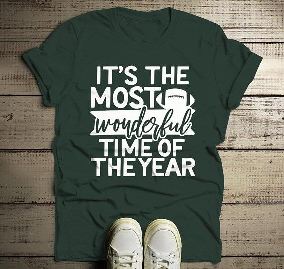 Men's Football T Shirt Most Wonderful Time Of Year Shirts Game Day Tee-Shirts By Sarah