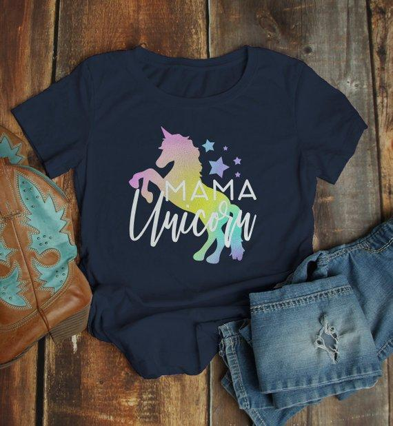 Women's Matching Mother Daughter T Shirt Unicorn Shirts Graphic Cute Mommy Me Tee-Shirts By Sarah