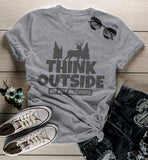Women's Think Outside T Shirt Funny Camping Shirts No Box Required Deer Tee Explore-Shirts By Sarah