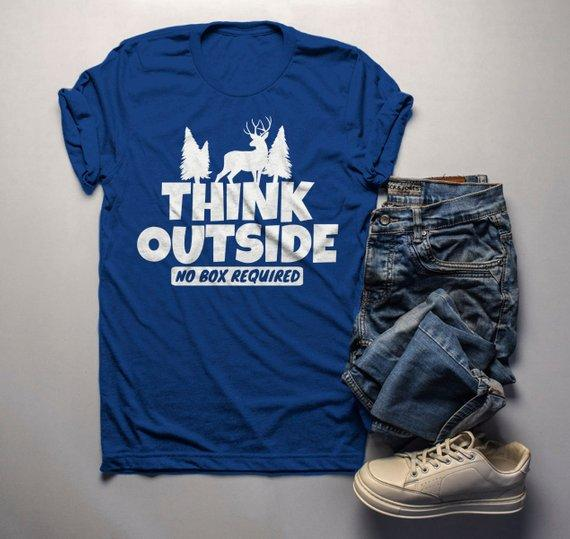 Men's Think Outside T Shirt Funny Camping Shirts No Box Required Deer Tee Explore-Shirts By Sarah
