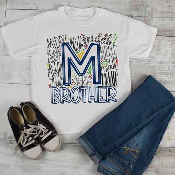 Boy's Middle Brother T Shirt Typography Tee Matching Sibling Shirts Cute Tees Baby Announcement Shirt-Shirts By Sarah