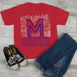 Girl's Middle Sister T Shirt Typography Tee Matching Sibling Shirts Cute Tees Baby Announcement Shirt-Shirts By Sarah