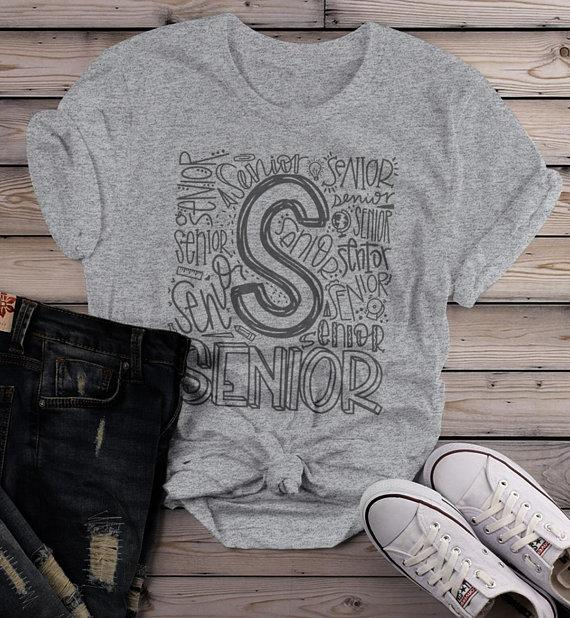 Women's Senior T Shirt Graduate Tee Typography Graduation Gift Idea Shirts Cool Seniors-Shirts By Sarah