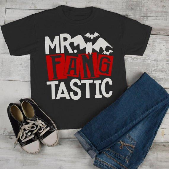 Boy's Funny Halloween T Shirt Mr. Fang Tastic Vampire Toddler Shirts Adorable Halloween Tee-Shirts By Sarah