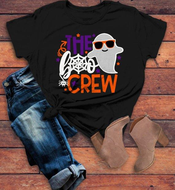 7ee44b1f Women's Funny Halloween T Shirt Boo Crew Graphic Tee Matching Halloween  Shirts Ghost-Shirts By
