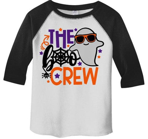 Kids Funny Halloween Shirt Boo Crew Graphic Tee Matching Halloween Shirts Ghost 3/4 Sleeve Raglan Toddler Boy's Girl's-Shirts By Sarah