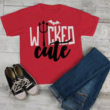 Kids Devil Halloween T Shirt Wicked Cute Pitchfork Tee Halloween Shirts Adorable TShirt-Shirts By Sarah