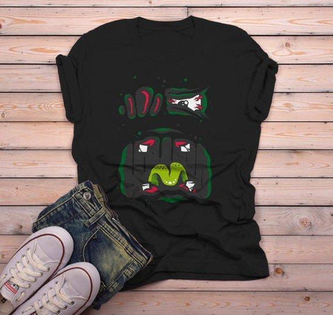 Men's Halloween T Shirt Monster Face Graphic Tee Cool Spooky Shirts-Shirts By Sarah