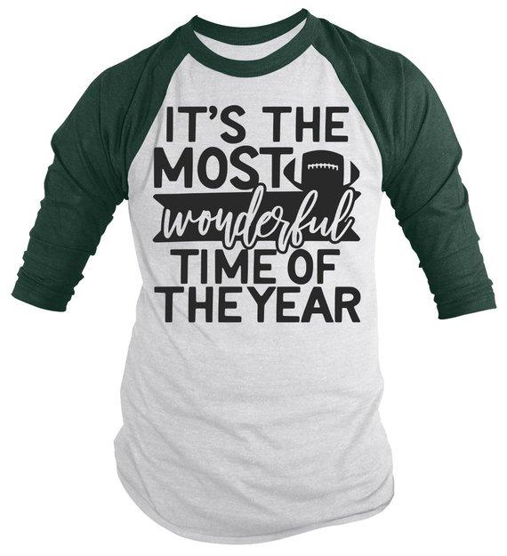 Men's Football T Shirt Most Wonderful Time Of Year Raglan 3/4 Sleeve Game Day Shirts-Shirts By Sarah