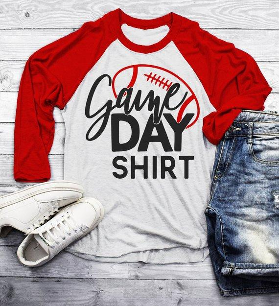 Men's Football T Shirt Game Day Shirts Support Dad Raglan 3/4 Sleeve Parent Shirt-Shirts By Sarah