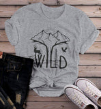 Women's Hipster Stay Wild Shirt Mountains T-Shirt Explore Antlers Graphic Tee Camping Vintage Wanderlust-Shirts By Sarah