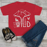 Kids Hipster Stay Wild Shirt Mountains T-Shirt Explore Antlers Graphic Tee Camping Vintage Toddler-Shirts By Sarah