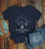 Women's Hipster T Shirt Back Roads Bonfires Beer Shirts Graphic Tee Nature Mountains TShirt Fall Camping-Shirts By Sarah