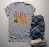 Men's Hello Fall T Shirt Leaf Arrow Shirts Thanksgiving Tee Graphic Season Tshirt-Shirts By Sarah