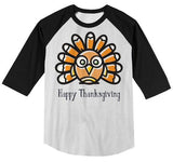 Kids Funny Thanksgiving T Shirt Silly Turkey Happy Thanksgiving Cartoon Graphic Tee Boy's Girl's Toddler 3/4 Sleeve Raglan-Shirts By Sarah