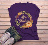 Men's Give Thanks T Shirt Fall Wreath Shirts Thanksgiving Graphic Tee Pumpkin Watercolor Illustration-Shirts By Sarah