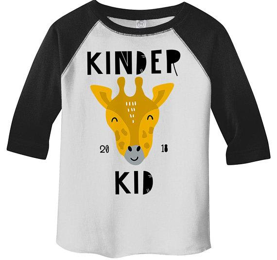Boy's Cute Kindergarten Shirt Kinder Kid 2018 Giraffe Raglan 3/4 Sleeve Graphic Tee Boy's Girls School Shirts-Shirts By Sarah