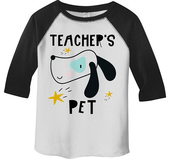 Boy's Cute Teacher's Pet Shirt Adorable Dog Raglan 3/4 Sleeve Graphic Tee Boy's Girls Back To School Shirts-Shirts By Sarah