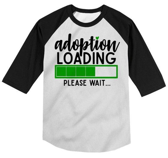 Boy's Adoption T Shirt Cute Adoption Loading Tee Gift Idea Brother Toddler 3/4 Sleeve Raglan-Shirts By Sarah