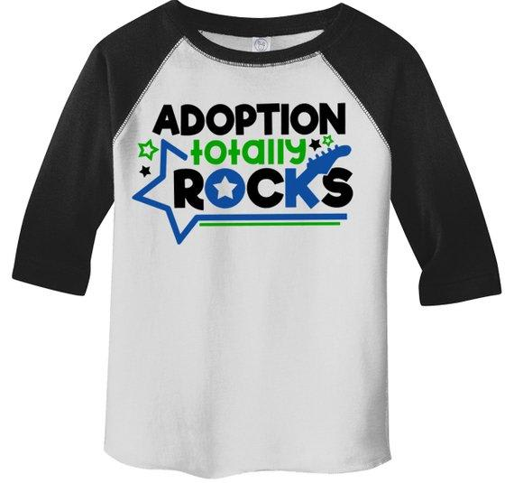 Boy's Adoption Rocks T Shirt Cute Matching Adoption Gift Idea Adoptive Brother Toddler 3/4 Sleeve Raglan-Shirts By Sarah