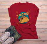 Men's Funny Tacos T Shirt Foodie Graphic Tee Taco Shell Comic Shirts Taco Night Tshirt-Shirts By Sarah