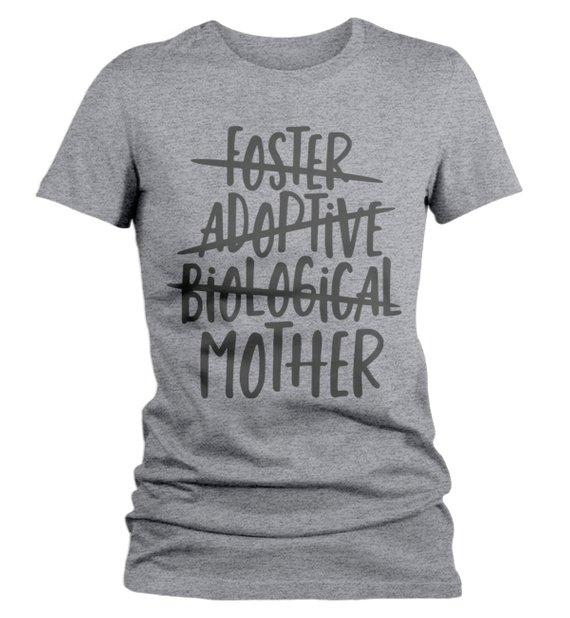 Women's Foster Mom T Shirt Adoptive Mom Shirts Biological Mother Tee Adoption Tshirt-Shirts By Sarah