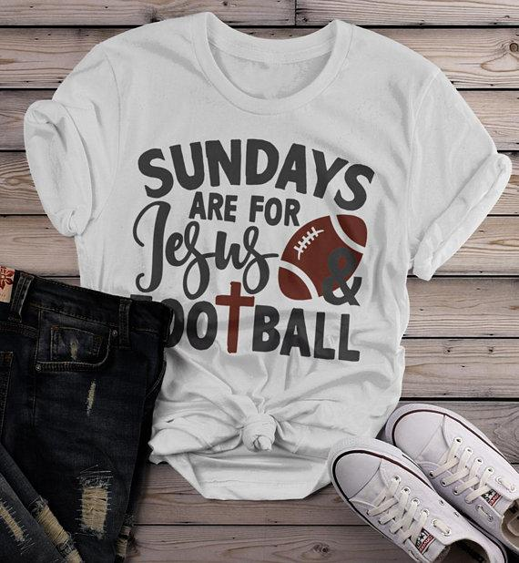 Women's Football T Shirt Sundays Are For Tshirt Football Jesus Shirts Vintage Graphic Tee-Shirts By Sarah