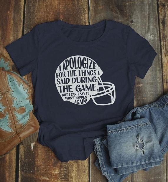 Women's Funny Football T Shirt Apology Helmet Tshirt Football Shirts Graphic Tee-Shirts By Sarah