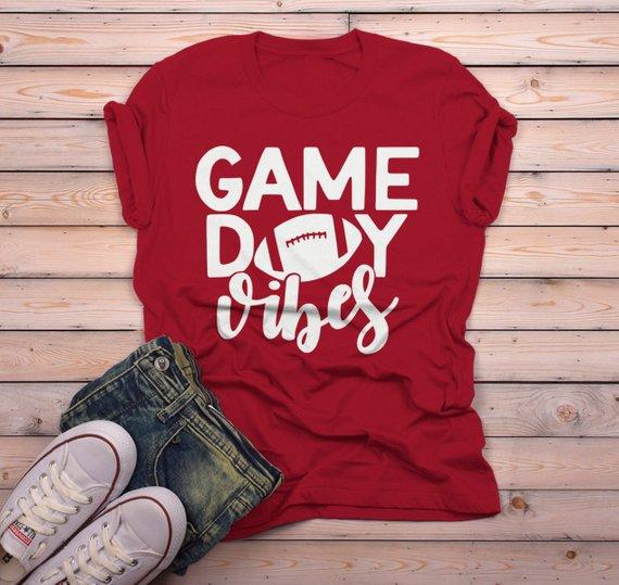 Men's Game Day Vibes T Shirt Football Tshirt Football Shirts Graphic Tee Football Mom-Shirts By Sarah