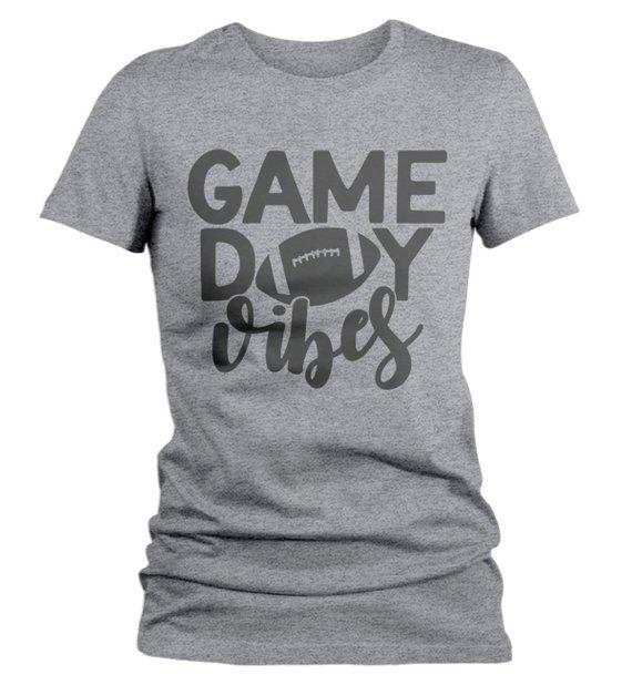 Women's Game Day Vibes T Shirt Football Tshirt Football Shirts Graphic Tee Football Mom-Shirts By Sarah