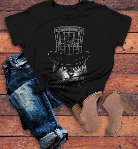 1ce1f245b Women's Cool Cat T Shirt Hipster Cat Shirts Top Hat Gentlemen Cats Monocle  Glasses Hand Drawn Illustration Tee