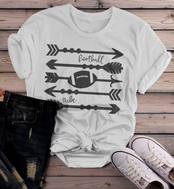 Women's Football Tribe T Shirt Arrows Football Tshirt Boho Football Shirts Game Day TShirts-Shirts By Sarah