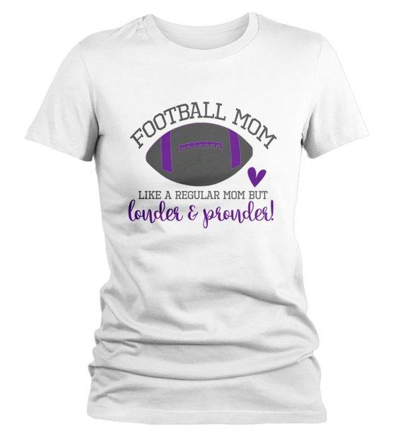 Women's Funny Football Mom T Shirt Like Normal Mom Louder Prouder Shirts Game Day TShirts-Shirts By Sarah