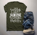 Men's Funny Teacher T Shirt Sorry I Can't Tee Grading Papers Shirts For Teachers Gift Idea-Shirts By Sarah