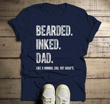 Men's Dad T Shirt Bearded Inked Shirts Like Normal Dad But Bada*s Funny Shirts Gift For Him-Shirts By Sarah