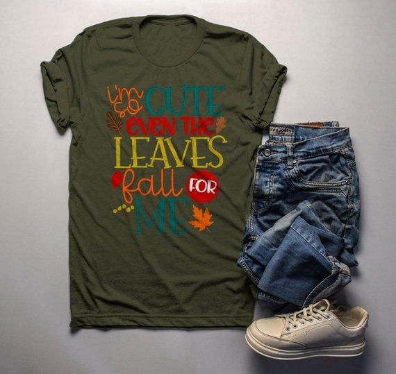 Men's Cute Fall T Shirt Even Leaves Fall For Me Tee Season Shirts Adorable TShirt-Shirts By Sarah