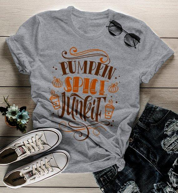 Women's Pumpkin Spice T Shirt Pumpkin Spice Junkie Tee Fall Shirts Seasonal TShirt Funny-Shirts By Sarah