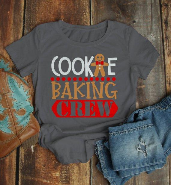 Women's Christmas T Shirt Cookie Baking Crew Matching Xmas Shirts Cute Graphic Tee-Shirts By Sarah