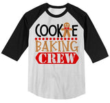 Kids Christmas T Shirt Cookie Baking Crew Matching Xmas Shirts Cute Graphic Tee Toddler Boy's Girl's 3/4 Sleeve Raglan-Shirts By Sarah