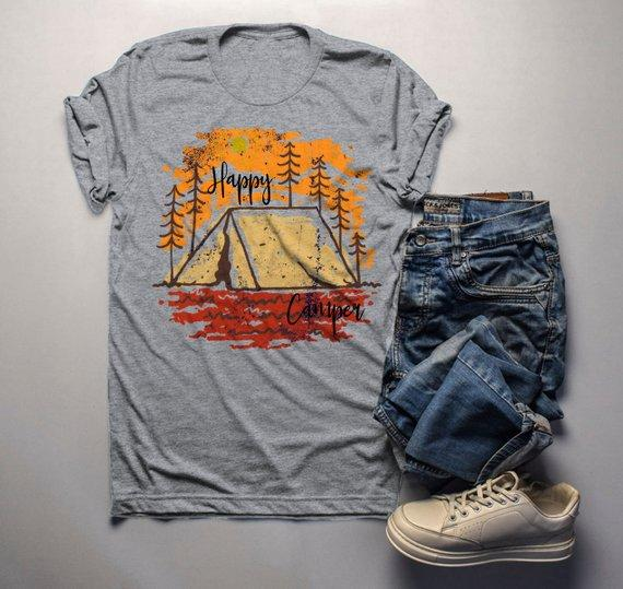 Men's Happy Camper T Shirt Fall Camping Camp Tent Illustration Forest Graphic Tee-Shirts By Sarah